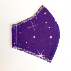 Basic purple stars fabric face covering