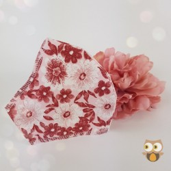 Red floral 3 layer fabric face covering