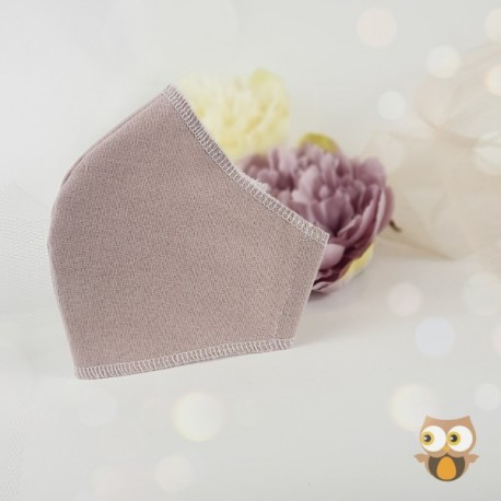 Beige 3 layer fabric face covering